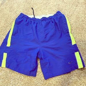 Men's Blue & Yellow Nike Dri Fit Running Shorts